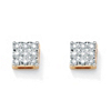 Related Item 1/7 TCW Round Diamond 10k Yellow Gold Square-Shaped Stud Earrings