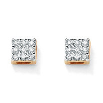 1/7 TCW Round Diamond 10k Yellow Gold Square-Shaped Stud Earrings