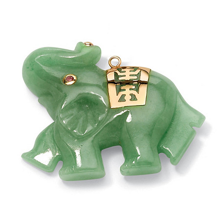 Green Jade Pink Genuine Sapphire Accent 14k Yellow Gold Lucky Elephant Charm Pendant at PalmBeach Jewelry