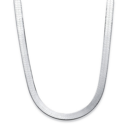 "Sterling Silver Flexible Herringbone Necklace 18"" at PalmBeach Jewelry"