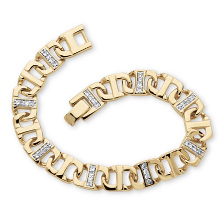 "Men's 1.19 TCW Round Cubic Zirconia Mariner-Link Bracelet in 14k Gold-Plated 8"" (10mm) at PalmBeach Jewelry"
