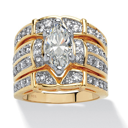 3.05 TCW Marquise-Cut Cubic Zirconia 18k Gold over Sterling Silver Bridal Engagement Set at PalmBeach Jewelry