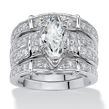 3.05 TCW Marquise-Cut Cubic Zirconia Three-Piece Bridal Set in Sterling Silver at PalmBeach Jewelry