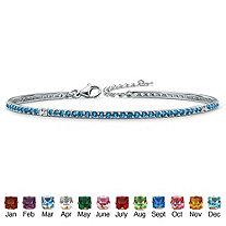 """Round Birthstone Silvertone Stackable Tennis Bracelet 7.5"""""""