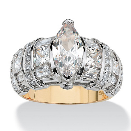 4.18 TCW Marquise-Cut Cubic Zirconia 18k Gold over Sterling Silver Ring at PalmBeach Jewelry