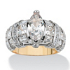 Related Item 4.18 TCW Marquise-Cut Cubic Zirconia 14k Gold over Sterling Silver Ring