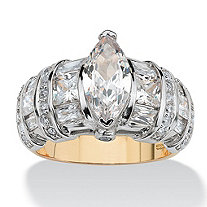 4.18 TCW Marquise-Cut Cubic Zirconia 14k Gold over Sterling Silver Ring
