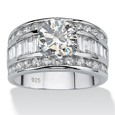 4.12 TCW Round Cubic Zirconia Platinum over Sterling Silver Engagement Anniversary Ring at PalmBeach Jewelry