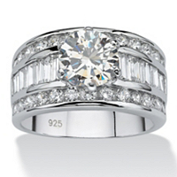 Round Cubic Zirconia Platinum Over Sterling Silver Engagement Anniversary Ring ONLY $71.44