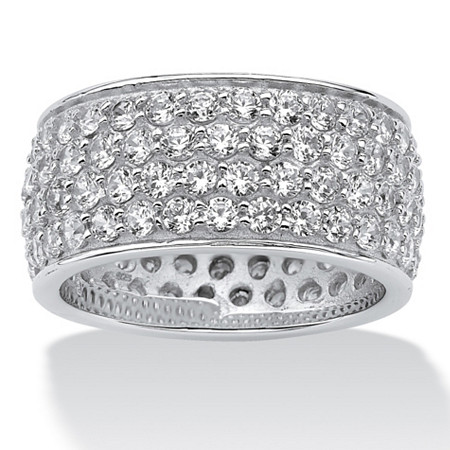 3.30 TCW Round Cubic Zirconia Platinum over Sterling Silver Eternity Band at PalmBeach Jewelry