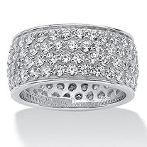 3.30 TCW Round Cubic Zirconia Platinum over Sterling Silver Eternity Band