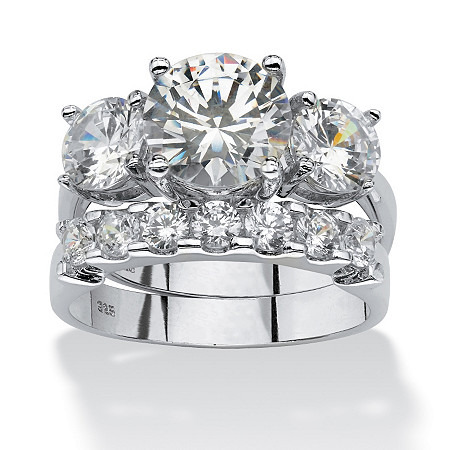 2 Piece 5.50 TCW Round Cubic Zirconia Bridal Ring Set in Platinum over Sterling Silver at PalmBeach Jewelry