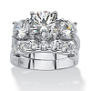 Related Item 2 Piece 5.50 TCW Round Cubic Zirconia Bridal Ring Set in Platinum over Sterling Silver