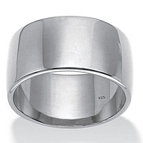 Polished 11 mm Wedding Band in Sterling Silver Sizes 7-12
