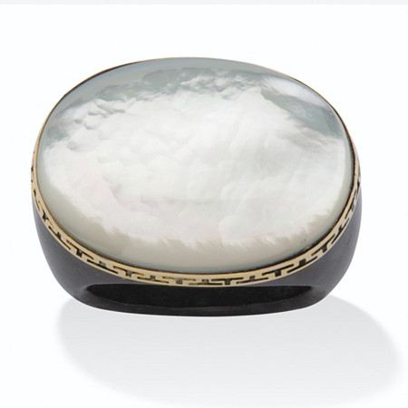 Oval-Shaped Mother-Of-Pearl Black Jade Greek Key Ring in 14k Gold at PalmBeach Jewelry