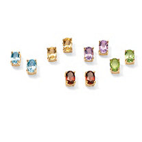 5.04 TCW Genuine Oval-Cut Gemstones 5-Piece Earrings Set in 18k over .925 Sterling Silver