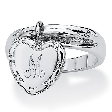 Silvertone Personalized I.D. Heart Charm Initial Ring at PalmBeach Jewelry