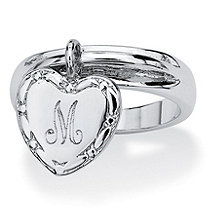 SETA JEWELRY Silvertone Personalized I.D. Heart Charm Initial Ring