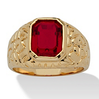 Men's Emerald-Cut Simulated Ruby Nugget-Style Ring