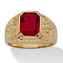Men's Emerald-Cut Simulated Ruby Nugget-Style Ring 2.75 TCW 14k Yellow Gold-Plated