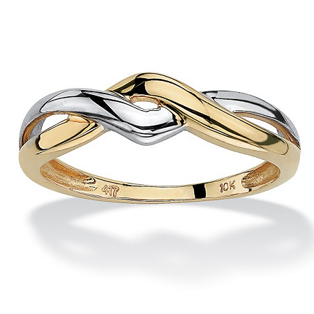 10k Yellow Gold Two-Tone Twisted Crossover Ring at PalmBeach Jewelry