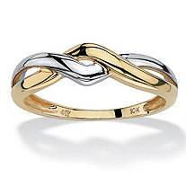 10k Yellow Gold Two-Tone Twisted Crossover Ring