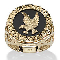 Men's Round Genuine Onyx 10k Yellow Gold Diamond-Cut Eagle Ring