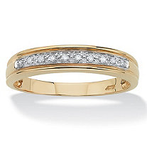 Men's 1/10 TCW Round Diamond 10k Yellow Gold Anniversary Ring Wedding Band