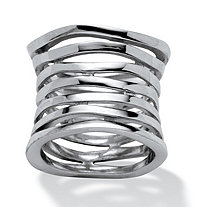 SETA JEWELRY Multi-Row Concave Tailored Band in .925 Sterling Silver