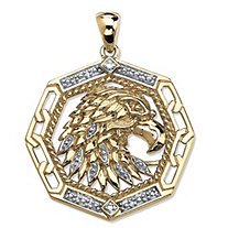 SETA JEWELRY Men's Diamond Accented Eagle Pendant in 18k Gold over Sterling Silver