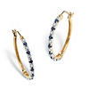 Related Item .82 TCW Genuine Midnight Blue Sapphire Hoop Earrings in 18k Gold over Sterling Silver (1