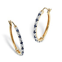.82 TCW Genuine Midnight Blue Sapphire Hoop Earrings in 18k Gold over Sterling Silver