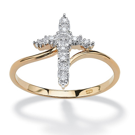 White Diamond Accent Cross Ring in 18k Gold over Sterling Silver at PalmBeach Jewelry