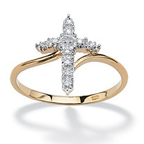 White Diamond Accent Cross Ring in 18k Gold over Sterling Silver