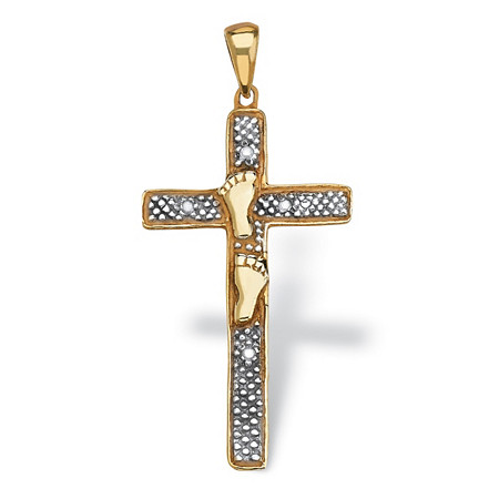 Diamond Accented Footprints Cross Pendant in 18k Gold over Sterling Silver at PalmBeach Jewelry