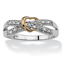 Diamond Accent Platinum over Sterling Silver Crisscross Heart Ring