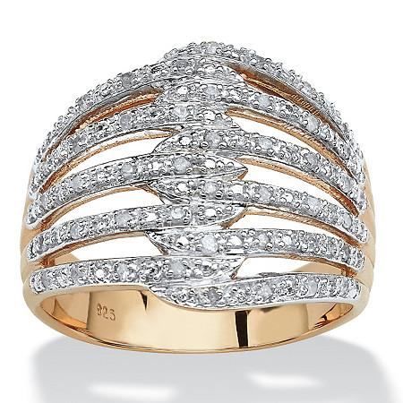 1/5 TCW Diamond 18k Gold over Sterling Silver Open Dome Ring at PalmBeach Jewelry