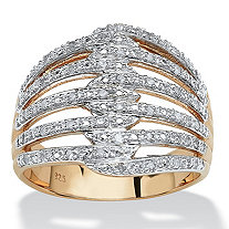 1/5 TCW Diamond 18k Gold over Sterling Silver Open Dome Ring