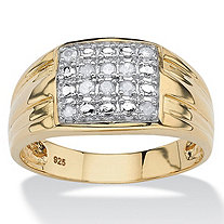 Men's 1/8 TCW Round Diamond Grid Ring in 18k Gold over Sterling Silver