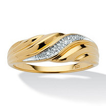 SETA JEWELRY Men's Diamond Accent Ring in 18k Gold over Sterling Silver