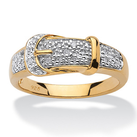1/10 TCW Round Diamond 18k Gold over Sterling Silver Buckle-Shaped Ring at PalmBeach Jewelry