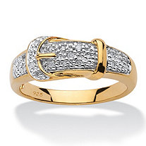 1/10 TCW Round Diamond 18k Gold over Sterling Silver Buckle-Shaped Ring