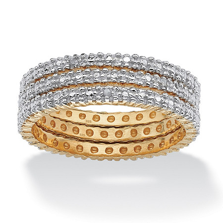 3 Piece Diamond Accented Eternity Band Set in 18k Gold over Sterling Silver at PalmBeach Jewelry
