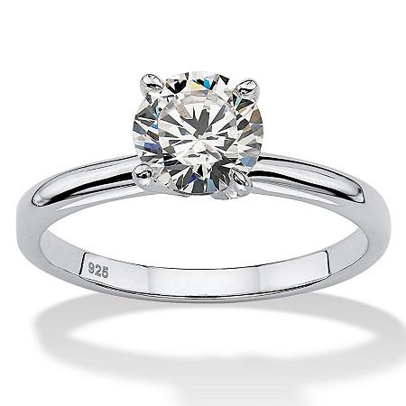 1.08 TCW Round Cubic Zirconia Sterling Silver Bridal Engagement Traditional Solitaire Ring at PalmBeach Jewelry