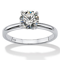 1.08 TCW Round Cubic Zirconia Sterling Silver Bridal Engagement Traditional Solitaire Ring