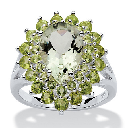 6.09 TCW Pear-Cut Green Genuine Amethyst and Peridot Ring in Sterling Silver at PalmBeach Jewelry