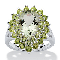 Pear-Cut Green Genuine Amethyst And Peridot Ring In Sterling Silver ONLY $70