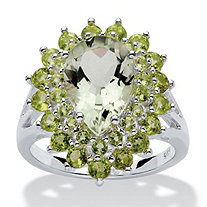 6.09 TCW Pear-Cut Green Genuine Amethyst and Peridot Ring in Sterling Silver