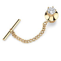 Men's 1.25 TCW Round Cubic Zirconia Tie Tack in Yellow Gold Tone
