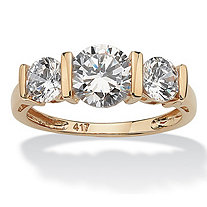 SETA JEWELRY Round Cubic Zirconia 3-Stone Bridal Engagement Ring 2.50 TCW in Solid Yellow 10k Gold